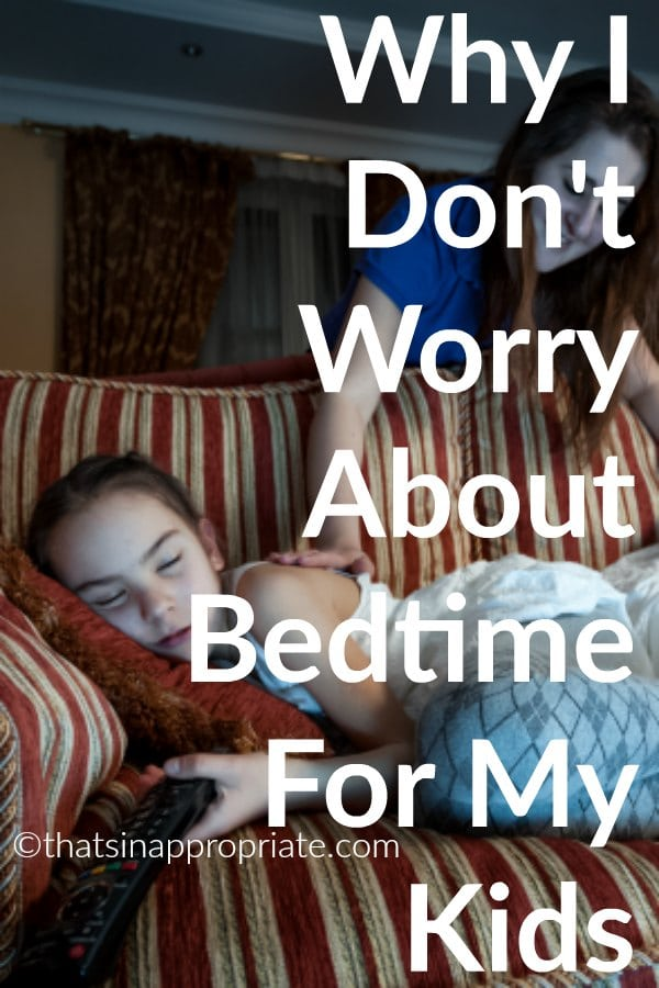 It's hard to know whether or not to sleep train or get your kids on a consistent sleep schedule. This mom shares why she doesn't worry about either of those things with her kids and how it works for her family. #family #momlife #parenting #sleeptraining #sleep #sleepschedule #bedtimeschedule