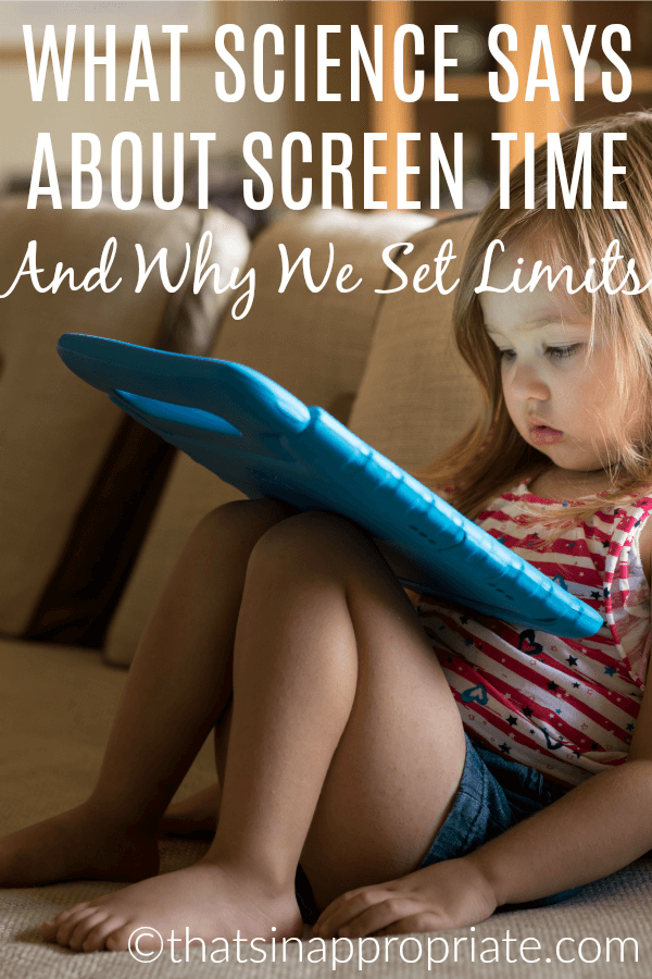 What does science about screen time say? This mom shares a post about setting limits for screen time and why it's important. #screentime #momlife #motherhood #parenting #parenthood