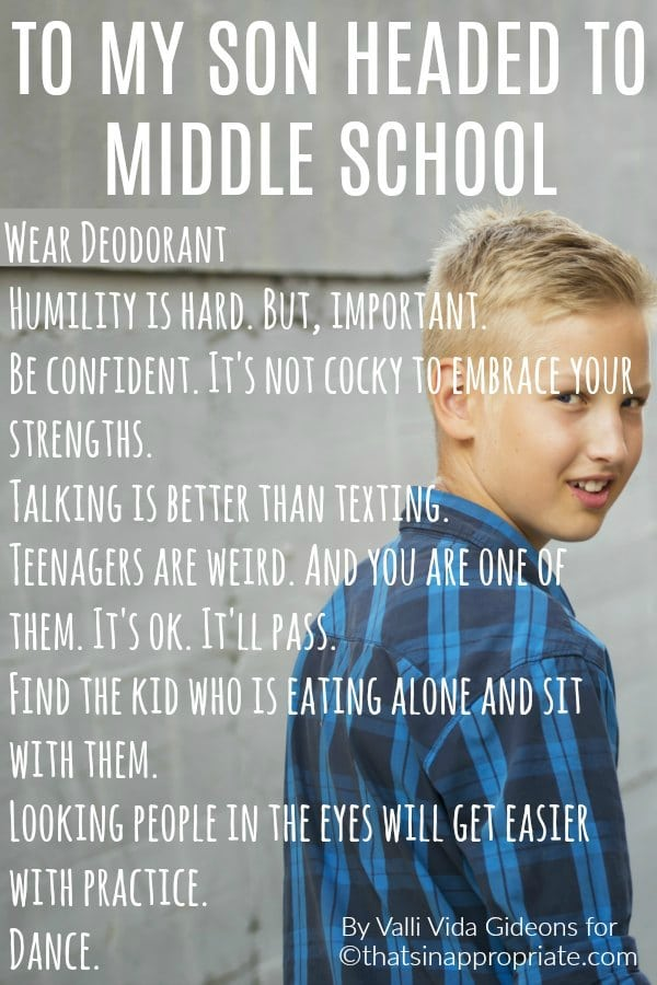 To my son headed to middle school. This heartfelt post to a mother's teenager will be one that you can relate to if you have a kid going through the awkward phase of junior high or middle school. #middleschool #juniorhigh #preteen #teenagers #teen #momlife #parenting